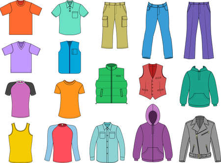 Man clothes colored collection isolalated on white  Vector