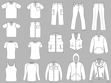 Man clothes collection isolated on grey background  Ilustração