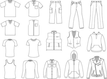 Man clothes collection isolated on white  Иллюстрация