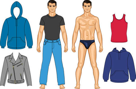 Man and clothes colored collection (you can use for scissors cutting out)  Vector