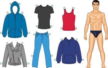 ropa de verano: El hombre y la colecci�n de ropa de color Vectores