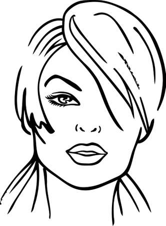 one eye: Woman face (vector illustration) Illustration