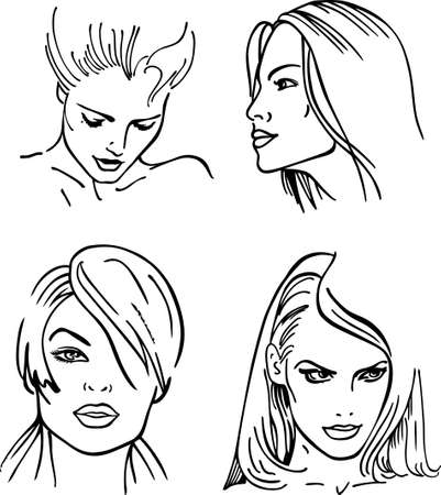 Four women outlined faces (vector)  Vector