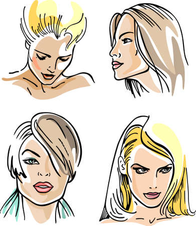 hair black color: Four women outlined faces (vector)