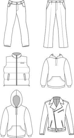 Colección otoño ropa hombre aislado en blanco Ilustración de vector