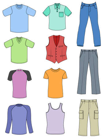 raglan: Man clothes colored summer collection isolated on white Illustration