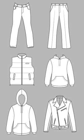 ふだん着: 男性服白で隔離されるグレー スケール秋コレクション