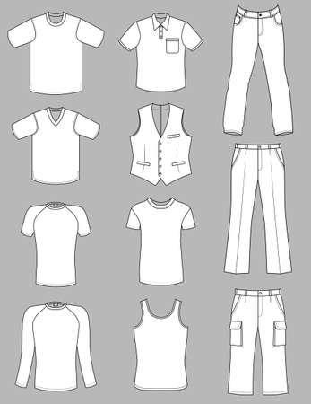 Man clothes grey-scale summer collection isolated on white Stock Vector - 11357735