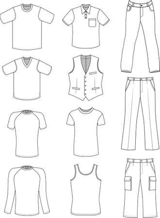 Colección de verano de ropa de hombre aislado en blanco