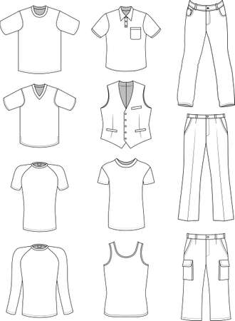 Man clothes summer collection isolated on white  Illustration