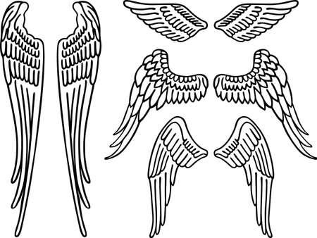 Engelenvleugels op wit wordt geïsoleerd Stock Illustratie