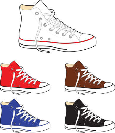 lacing sneakers: Sneakers (gumshoes) - vector illustration