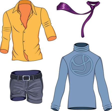 sueter: Colección de ropa de hombre de color aislado en el fondo Vectores
