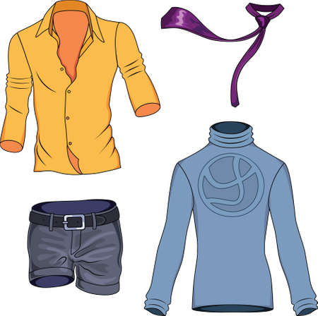man clothing: Man clothes colored collection isolated on background