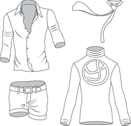 Man clothes collection isolated on background  Vector