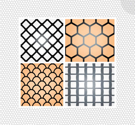 tulle: Set of lace seamless transparent backgrounds isolated on background Illustration