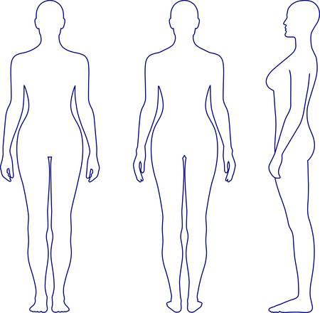 De volle lengte voor-, achter, zij-aanzicht van een staande naakte vrouw. U kunt deze afbeelding voor modeontwerp en etc.