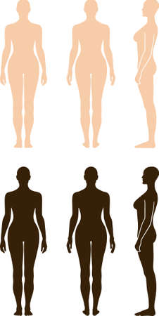 Naked standing woman vector sihouette Vettoriali