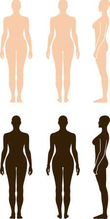 Nue sihouette vecteur, femme, debout Vecteurs