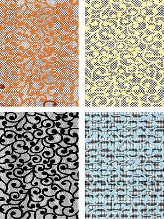 Vector curles on lace seamless background  Vector
