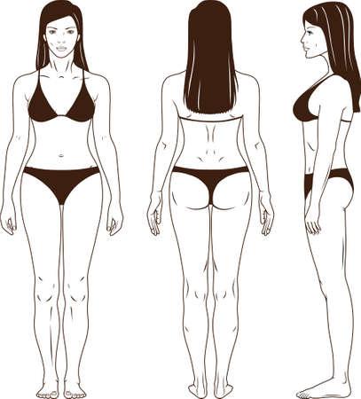 Frontal de cuerpo entero, espalda, vista lateral de una mujer de pie en traje de baño. Usted puede utilizar esta imagen para el diseño de moda, etc