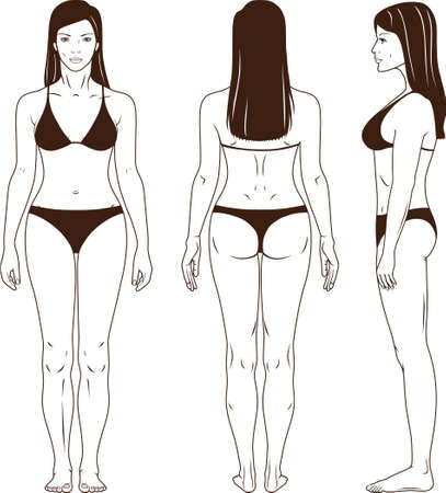 naked female body: Full length front, back, side view of a standing woman in swimsuit. You can use this image for fashion design and etc.