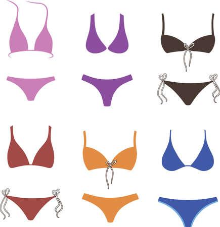 Swimsuit model isolated vector set Illustration