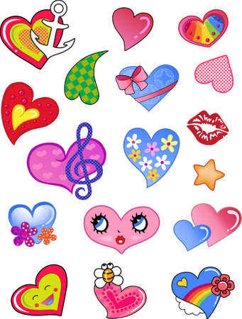 A set of comic hearts  Vector