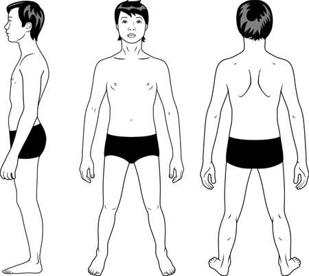 front side: Full length profile, front, back view of a teenager boy Illustration