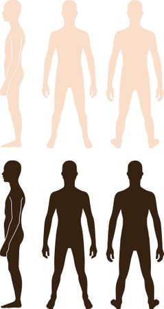 hombre de perfil: Perfil de longitud completa, de frente, Vista posterior de un muchacho adolescente