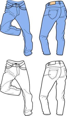 Blue man jeans (front, back views)