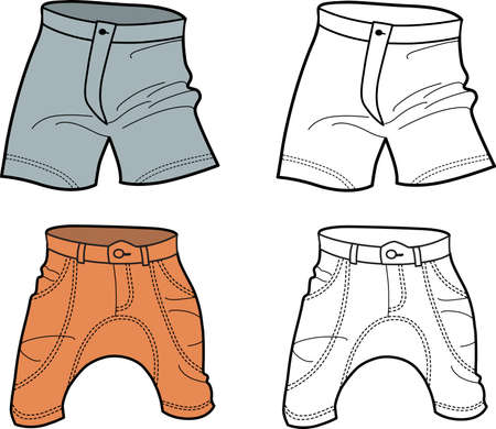 Men Shorts (front view) isolated on white background Vector