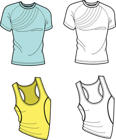 sports wear: Men T-shirt and football shirt (front view) isolated on white background