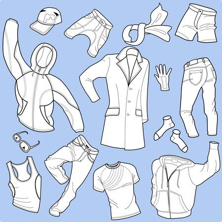 white socks: Seamless background man clothes collection isolated on background Illustration
