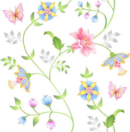 mariposa azul: Elementos de decoración juego floral sin fisuras aisladas sobre fondo blanco