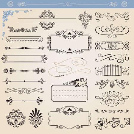 Vector kalligrafische decoratie elementen set, alle elementen geïsoleerd van achtergrond Stock Illustratie