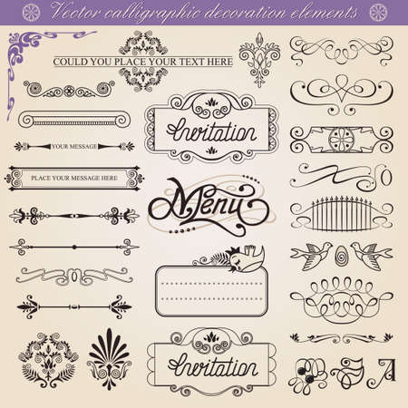 Vector calligraphic decoration elements set, all elements isolated from background Vector
