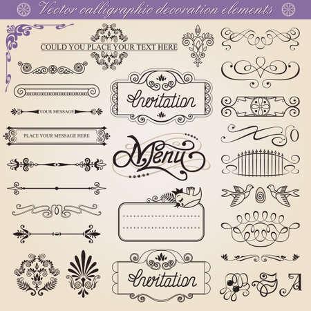 Vector kalligrafische decoratie-elementen set, alle elementen los van achtergrond