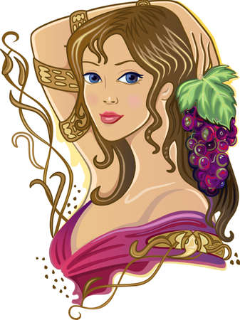 fantasy woman: Snake Girl with grapes isolated on white background Illustration