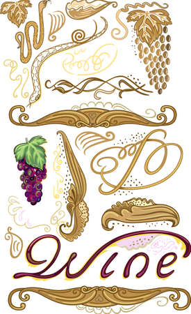 Decorated set for wine label with grapes isolated on white background Vector