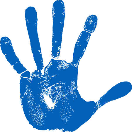 blue print: Man left hand print isolated on white  Illustration