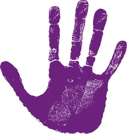 empreinte de main: Empreinte de la main droite homme isol� sur blanc Illustration