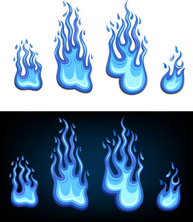 blue flame: Gas flame set Illustration