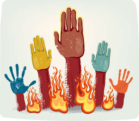 rising an arm: Voting fire hands isolated on grey metallic background