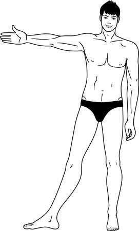 naked male body: Full length  front view of a standing naked man  isolated on white