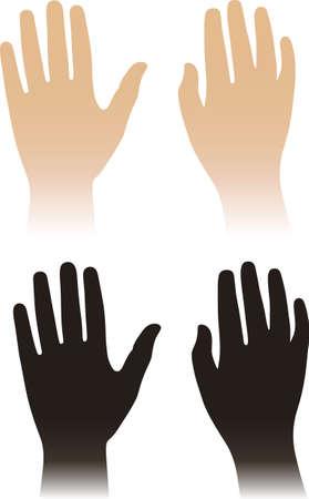 Mujer, las manos del hombre aislado en blanco
