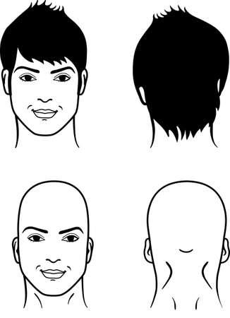 hombre calvo: Primer plano frontal, retrato espalda de un hombre joven y sonriente sobre un fondo blanco