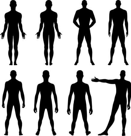 hombre desnudo: Frontal de cuerpo entero, silueta espalda de un hombre Vectores