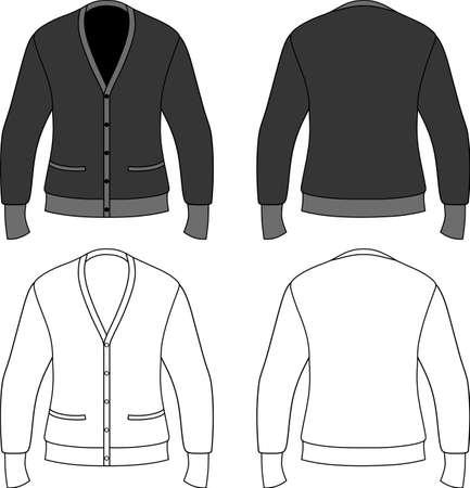 Ilustración del esquema de plantilla de una chaqueta de punto en blanco aislado sobre fondo blanco. Ilustración de vector
