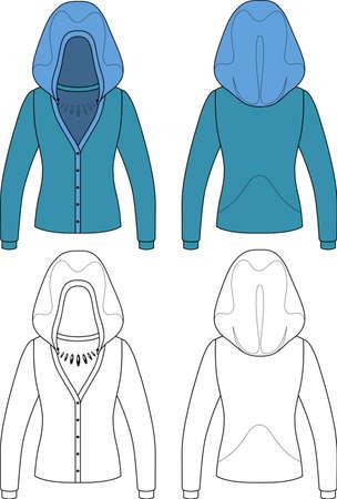 encapuchado: Plantilla de la ilustraci�n silueta de una chaqueta de punto con capucha en blanco sobre fondo blanco